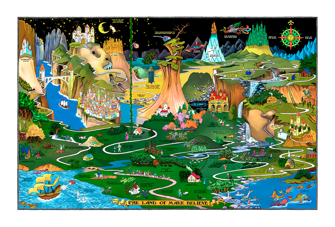 The Land of Make Believe Map - Remastered 1.5, a vintage fairy tale illustration of fifty plus stories and folk tales.